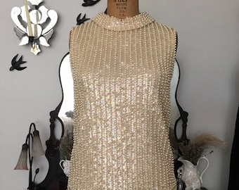 late 1950s/early 1960s Saks Fifth Avenue beaded blouse with collar