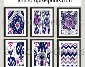 Ikat Indigo Prints Damask Navy Blues Pinks White Pictures, Set of (6) 8x10 Wall Art, Custom Colors Available (Unframed) #252697424