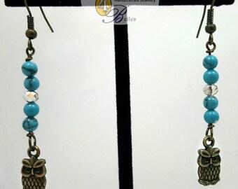 Turquoise & Owl Dangle Earrings