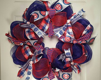 Chicago Cubs Baseball Mesh Wreath