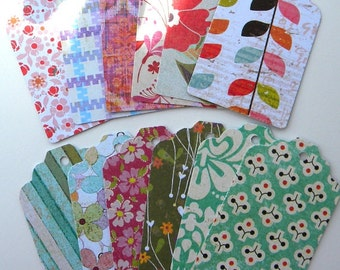 12 paper tags with fun prints - use as gift tags or favor tags - scrapbook supplies or embellishments - hang tags or labels