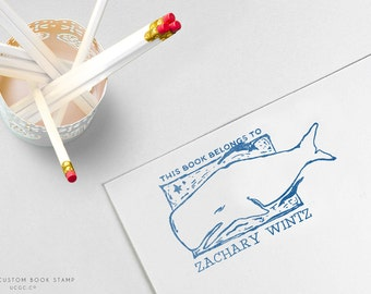 This Book Belongs To WHALE STAMP - Custom NAME Stamp, Hand-Drawn Stamp, Children's Books, Kid's Gift