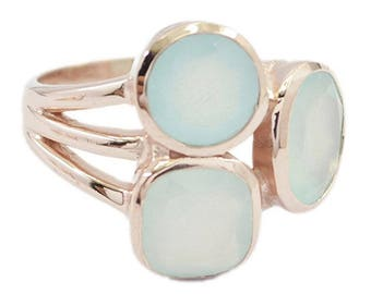Rose Gold Silver 925 starling ring chalcedony Ring,  Ring size choose US 4 - US 13 Till,