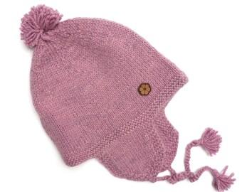 """Bonnet bébé rose, type """"chullo"""", 100% alpaga de teinte naturelle, fait main"""