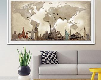 World travel map, World Map Poster, World map wall art, Extra Large Wall Art, Large World Map, large wall decor, World Map Print, Art (L23)
