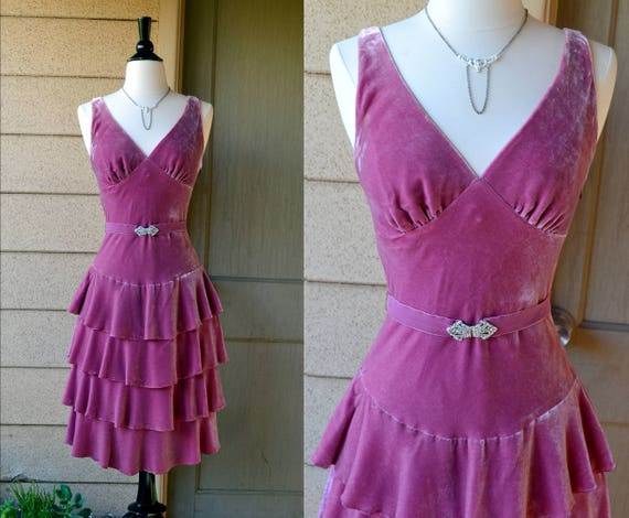 Velvet Frosé Dress | vintage 90's does 30's pink ruffled cocktail dress | small