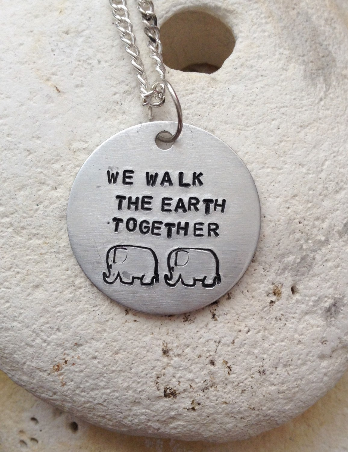 We walk the earth together elephant necklace - love jewellery - valentines gift - handstamped 25mm  pendant on 18