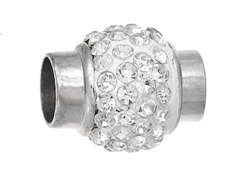 Magnetic clasp round silver rhinestone 17x14mm SC47046 - creating jewelry.