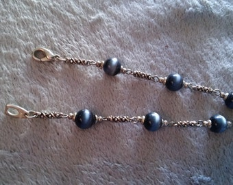 "10472 Silver Tone and Silver Gray Cats Eye Bracelet, 8 1/2"" FREE SHIPPING"