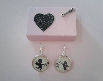 Angels earrings Cupid Angel of Love Valentine's Day and gift box