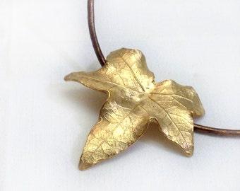 Ivy Leaf Pendant - Gold on Brass