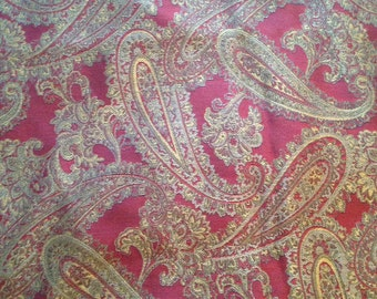 Red Tan Paisley Curtain Upholstery Fabric- 3/4 of a yard Ready to Ship