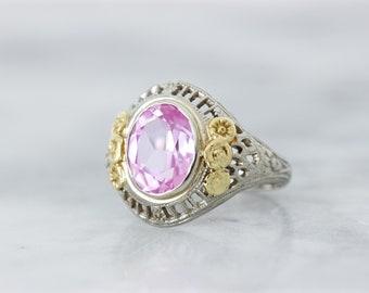 Antique 1930s Engagement Ring, Floral Art Deco Filigree, Bezel Set Pink Colored Gemstone, Vintage 10k White Gold Pinky Rings, Size 4.75