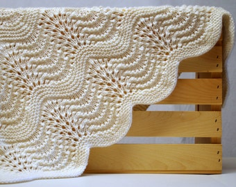 Wool baby blanket heirloom quality hand knit feather and fan cashmerino lace blanket luxuriously soft feather and fan heirloom quality hand knit blanket elegant dt1010fo