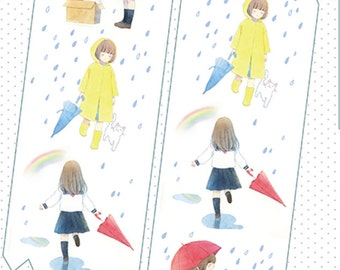 1 Roll of Limited Edition Washi  Tape -Rain and Girls