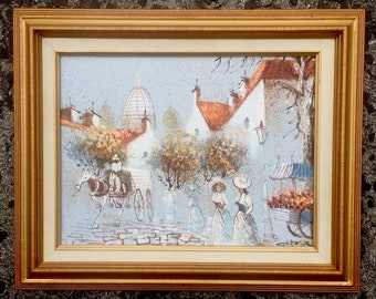 Boris Chezar Original Oil & Sand Painting on Canvas Framed