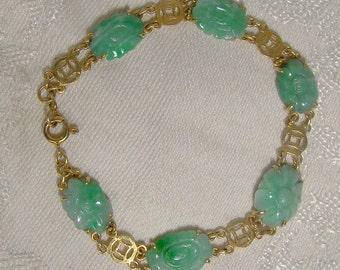 18K Carved Jade Jadeite Bracelet 1920s 18 K Vintage Jadite