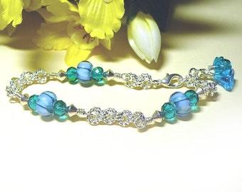Ocean Blue Bracelet, Lampworks And Silver