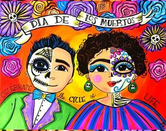 Dia de Los Muertos Couple Print 8x10