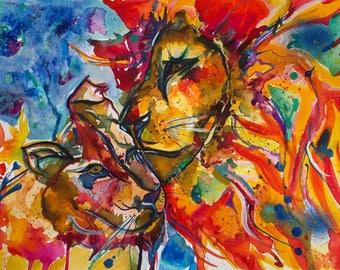 Watercolor Lions, Lion Wall Art, Lions in Love Art , Lion Watercolour Print, Home Decor ,Wildlife Animal Art, Lion illustration, Animal art