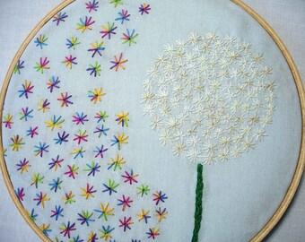 Embroidery Hoop Art, Re-Imagined Dandelion, Hoop Art, Mother's Day Gift