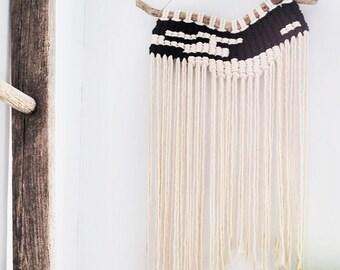 Modern Black+White Macrame Wall Hanging