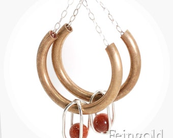 Drip Drop - Brass Curve Earrings Sterling Silver with Floating Goldstones - Free Domestic Shipping