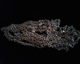 Vintage Valentino Gold Plated Crystal Station Long Chain Necklace