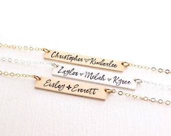 Personalized Name Bar Necklace. Hand Lettered Font Hand Stamped Custom Bar Necklace. Mother's Gold Bar Necklace in Gold, Rose, or Silver.