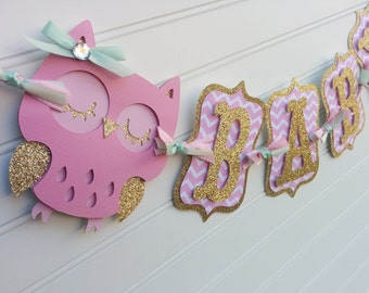 Owl Baby Shower Banner, Itu0027s A Girl Banner, Baby Banner, Baby Shower  Decorations