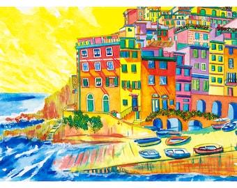 Cinque Terre Print: Riomaggiore, Cinque Terre, Italy