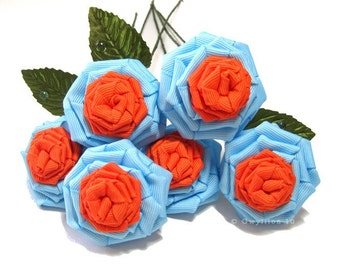 Blue and Orange Sunflower Rose Bouquet