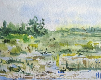 Original ACEO watercolor painting - Swamp - Miniature Painting, Small Painting, Art and Collectables - ACEO Watercolor 2.5 x 3.5 inches