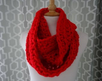 super chunky scarf / snood / infinity scarf hand crafted crochet red xmas gift
