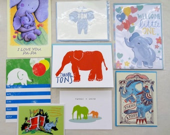 ELEPHANT Greeting Cards UNUSED Mixed Lot Paper Ephemera Unused New Letterpress Father's Day Thank You Thanks Dr. Seuss Trunk Pachyderm
