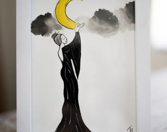 Moon Enchantress Watercolor