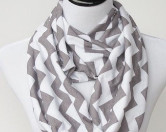 Gray white chevron infinity scarf soft jersey knit loop scarf - grey cotton circle scarf gift for her, gift for mom and girl
