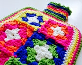 crocheted hot water bottl...