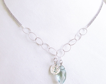 Personalized grandmother retirement gift, dainty sterling silver letter L necklace, silver L coin necklace, blue stone initial L necklace