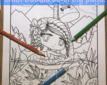 Chibi Doodle Fantasy Giraffe Mermaid Anime Manga Coloring Page for Adult Coloring PDF download by JennyLuanArt
