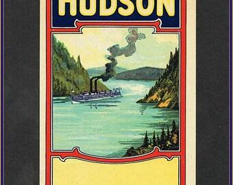 Original  Hudson Label - Authentic Lithographed Advertising Label