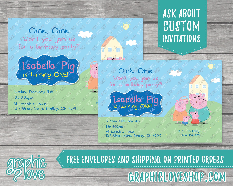 Personalized Peppa Pig Birthday Invitation Any Age
