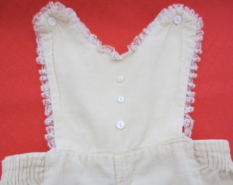 vintage pastel yellow girls overalls with ruffle lace handmade vintage homemade vintage 1950s 1960s toddler baby clothes romper long pants
