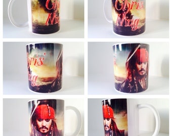 personalised pirates of the caribbean jhonny dept jack sparrow mug cup personalised gift present