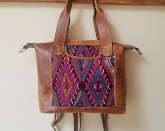 PRE-MADE Classic Mini Day Bag~Leather and Huipil Bag~Convertible Bag~Guatemala Bag~Backpack~ Leather Handbag~Leather Tote~Leather Purse