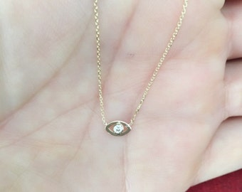 14k Gold Tiny Evil Eye Necklace with Diamond