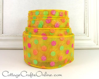"""Wired Ribbon 2 1/2"""", Yellow Sheer, Green, Orange, Pink Glittered Polka Dots, THREE YARDS, """"Candy Dots"""" Summer, Spring Wire Edged Ribbon"""