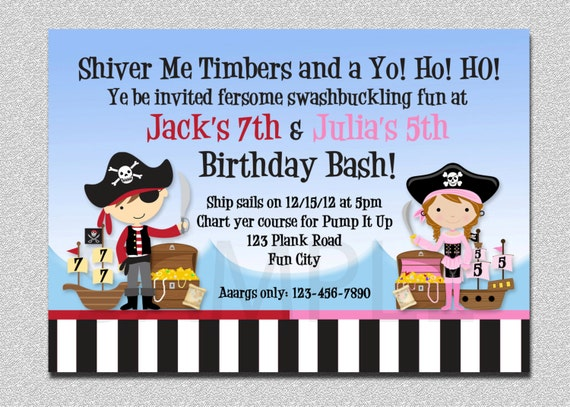 Pirate birthday invitation twins pirate birthday party like this item filmwisefo Images