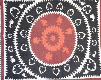 """uzbek silk hand embroidered suzani samarkand tapestry  for the wedding ceremony  home wall decor 36"""" x 41"""""""