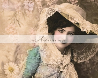 Printable Instant Download - Antique Victorian Woman Shabby Chic Tinted Photograph - Paper Crafts Scrapbook Altered Art - Lace Flowers Blush